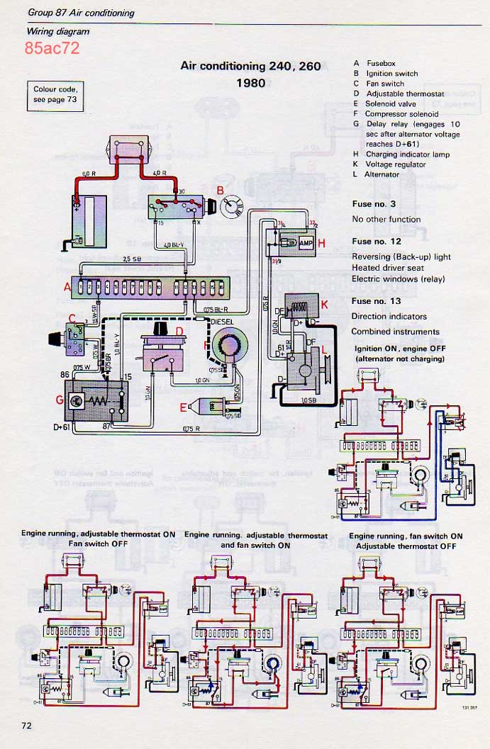 volvo 240 ac notes rh cleanflametrap com Wiring a 240 Circuit 120 240 3 Phase Diagram