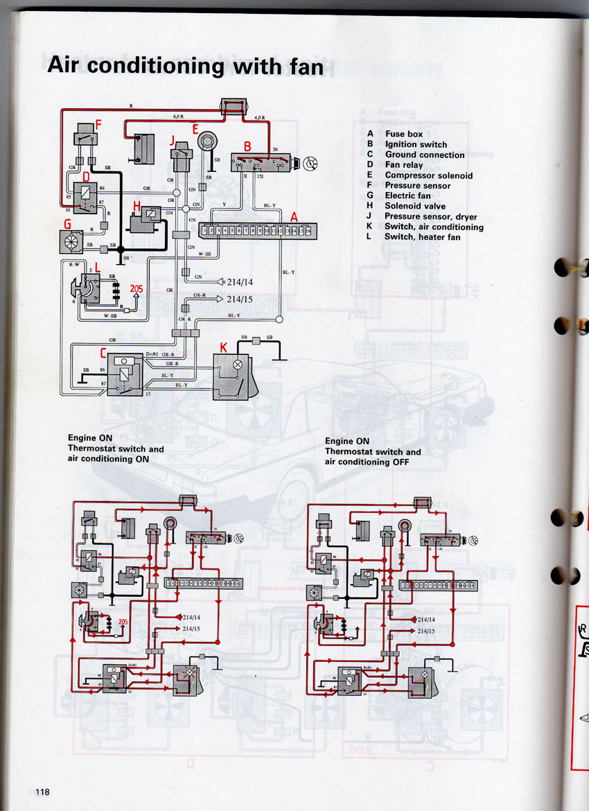 Volvo 240 Ac Notes Fan Relay Wiring Quick Reference Parts Book 1989 Shows Three Relays For