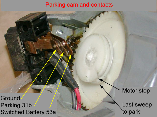 using the early, non-intermittent (no relay) wiring diagram, the two paths  can be followed  parking cam used in the electrolux wiper motor